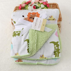 Baby Blanket New Brand Thicken Double Layer Coral Fleece Infant Swaddle Envelope Stroller Wrap For - MBMCITY