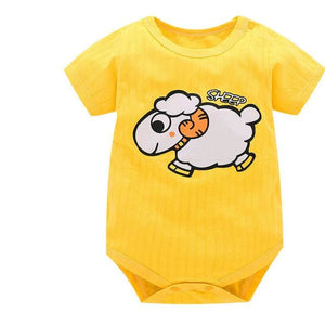 Baby Bodysuits 100%cotton Infant Body Short Sleeve Clothing Similar Jumpsuit Printed Baby Boy Girl Orange / 3M