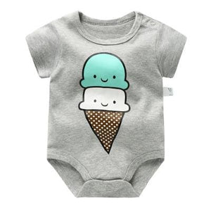 Baby Bodysuits 100%cotton Infant Body Short Sleeve Clothing Similar Jumpsuit Printed Baby Boy Girl Dark Grey / 3M