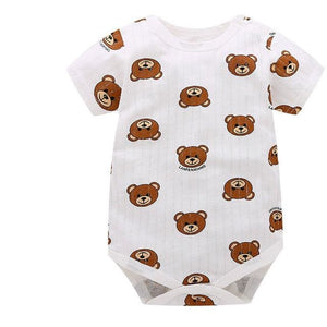 Baby Bodysuits 100%cotton Infant Body Short Sleeve Clothing Similar Jumpsuit Printed Baby Boy Girl Green / 3M