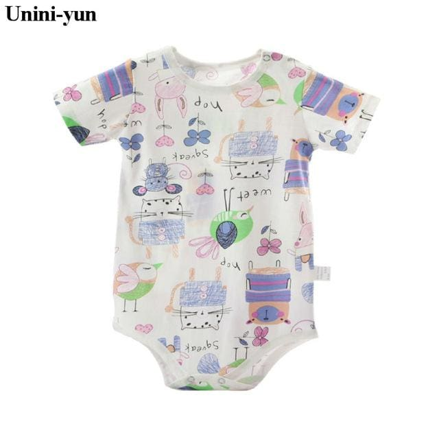 Baby Bodysuits 100%cotton Infant Body Short Sleeve Clothing Similar Jumpsuit Printed Baby Boy Girl White / 3M