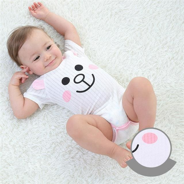 Baby Bodysuits 100%cotton Infant Body Short Sleeve Clothing Similar Jumpsuit Printed Baby Boy Girl Lavender / 3M