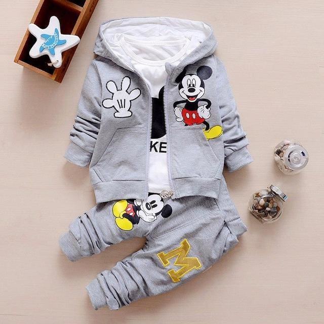Baby Boy Clothes 2017 Autumn Cartoon Full Sleeved Hooded Hoodies + T-Shirts + Pants 3Pcs Infant Gray / 6M