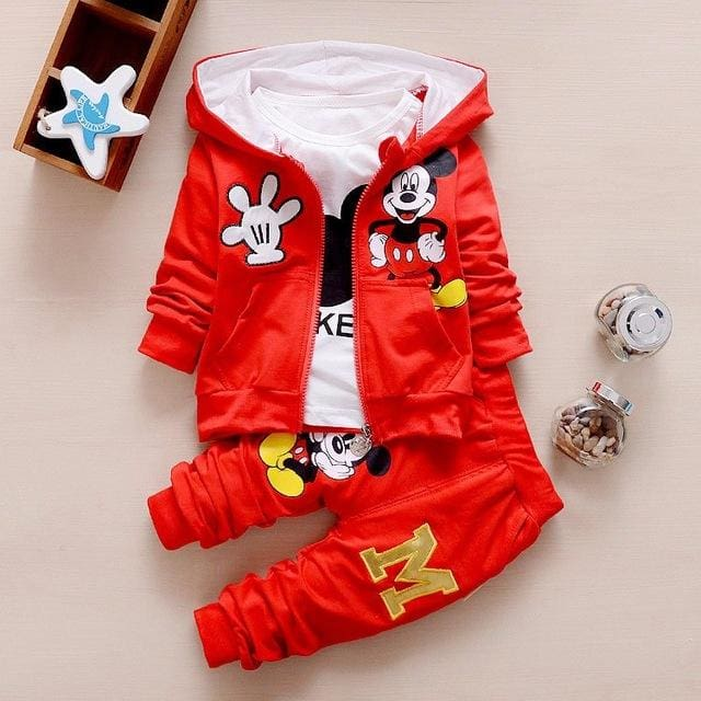Baby Boy Clothes 2017 Autumn Cartoon Full Sleeved Hooded Hoodies + T-Shirts + Pants 3Pcs Infant Red / 6M