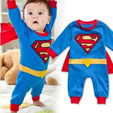 Baby Boy Romper Superman Long Sleeve with Smock Halloween Christmas Costume Gift Boys Rompers Spring Long sleeve / 6M