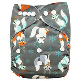 Baby Cloth Diaper Cover Bamboo Velour Fitted Diaper Washable Brand Baby Nappy Animal Print Reusable Ob140