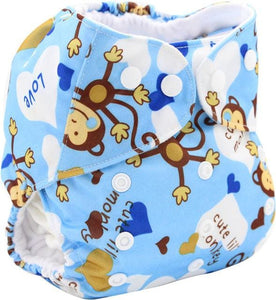 Baby Cloth Diaper Cover Bamboo Velour Fitted Diaper Washable Brand Baby Nappy Animal Print Reusable K5