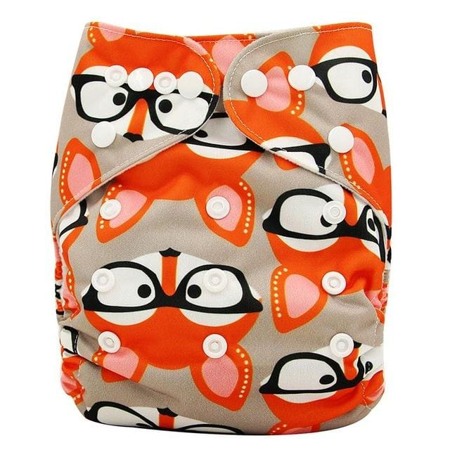 Baby Cloth Diaper Cover Bamboo Velour Fitted Diaper Washable Brand Baby Nappy Animal Print Reusable Ob133