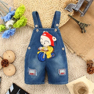 Baby Clothing Boys Girls Jeans Overalls Shorts Toddler Kids Denim Rompers Cute Cartoon Bebe Jumpsuit - MBMCITY