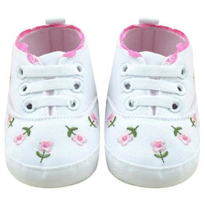 Baby Girl Shoes White Lace Floral Embroidered Soft Shoes Prewalker Walking Toddler Kids Shoes - MBMCITY