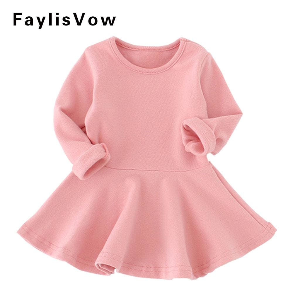 Baby Girl Solid Cotton Dress Fashion Long Sleeve A-Line Ruffles Dresses Infant Casual Clothes - MBMCITY