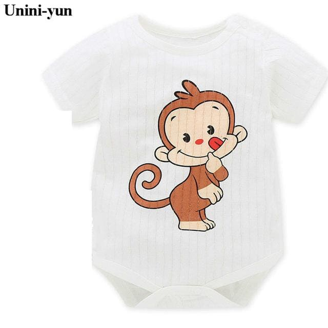 Baby Girls Boys Bodysuits For Infants Newborn Babies Clothes Bebe Summer Children Climb 100% Cotton Gray / 3M