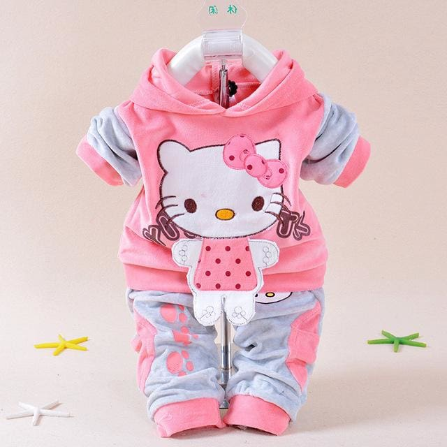 Baby Girls Clothing Set Cartoon Hello Kitty 2016 Winter Autumn Children Clothing Casual Tracksuits Hot Pink / 7-9 Months