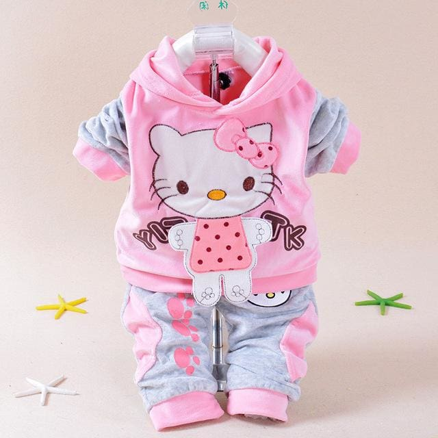 Baby Girls Clothing Set Cartoon Hello Kitty 2016 Winter Autumn Children Clothing Casual Tracksuits Pink / 7-9 Months