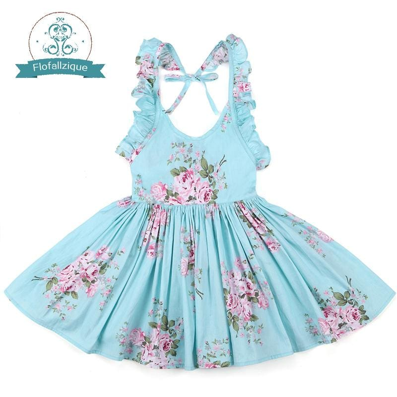 Baby Girls Dress Brand Summer Beach Style Floral Print Party Backless Dresses For Girls Vintage - MBMCITY
