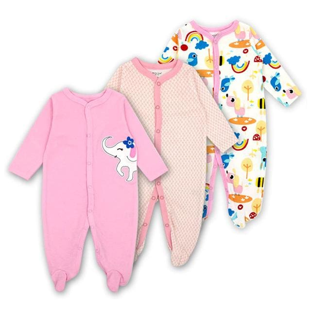 Baby Rompers Newborn Baby Girls Boys Clothes 100% Cotton Long Sleeves Baby Pajamas Cartoon Printed 8 / 3M