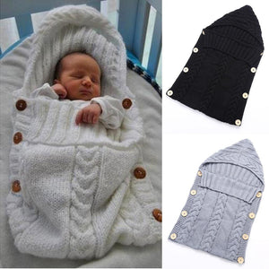 Baby Swaddle Wrap Warm Wool Crochet Knitted Newborn Infant Sleeping Bag Baby Swaddling Blanket