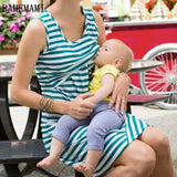 Bahemami Pregnant Women Summer Sleeveless Dress Striped Dresses Breastfeeding And Nursing Women