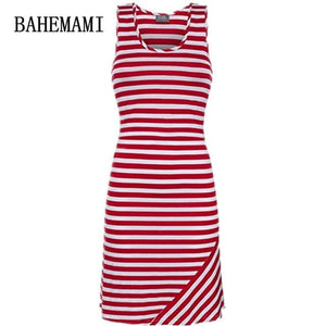 BAHEMAMI Pregnant Women Summer Sleeveless Dress Striped Dresses Breastfeeding And Nursing Women Red / S