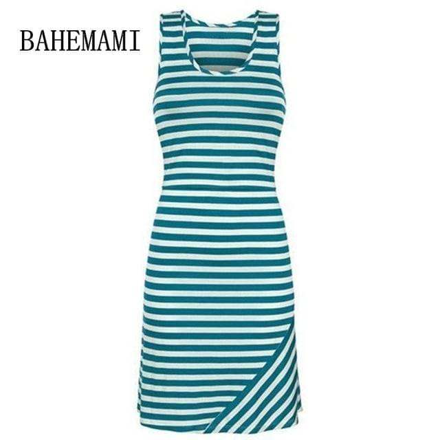 Bahemami Pregnant Women Summer Sleeveless Dress Striped Dresses Breastfeeding And Nursing Women Sky Blue / S