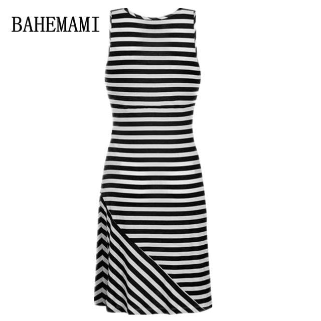 Bahemami Pregnant Women Summer Sleeveless Dress Striped Dresses Breastfeeding And Nursing Women Black / S