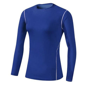 Base Layer Fitness Sport Shirt Quick Dry Women long Sleeves Top Gym jogging lady T-shirt Train Blue / S