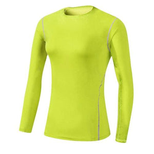 Base Layer Fitness Sport Shirt Quick Dry Women long Sleeves Top Gym jogging lady T-shirt Train Green / S