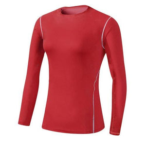 Base Layer Fitness Sport Shirt Quick Dry Women long Sleeves Top Gym jogging lady T-shirt Train Red / S