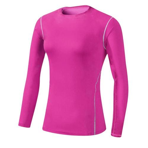 Base Layer Fitness Sport Shirt Quick Dry Women long Sleeves Top Gym jogging lady T-shirt Train Pink / S