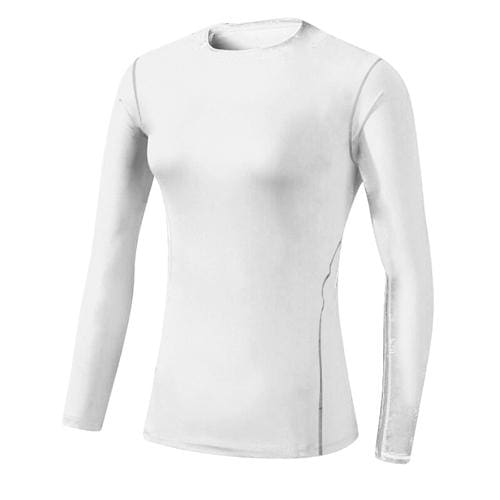Base Layer Fitness Sport Shirt Quick Dry Women long Sleeves Top Gym jogging lady T-shirt Train White / S