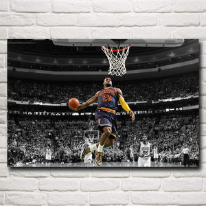 Basketball Star Lebron James Art Silk Fabric Poster Print Sports Pictures Wall Decor 12x18 16X24 - MBMCITY