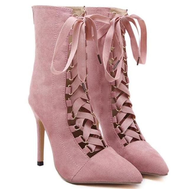 BAYUXSHUO Gladiator High Heels Women Pumps Genova Stiletto Sandal Booties Pointed Toe Strappy Lace Pink / 4