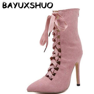 BAYUXSHUO Gladiator High Heels Women Pumps Genova Stiletto Sandal Booties Pointed Toe Strappy Lace - MBMCITY