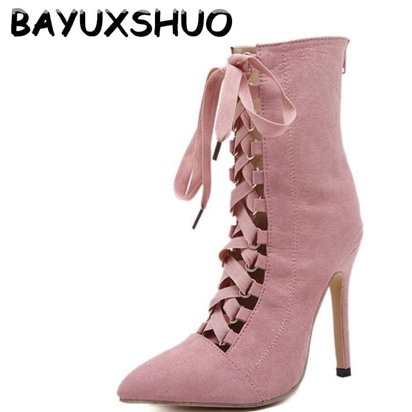 Bayuxshuo Gladiator High Heels Women Pumps Genova Stiletto Sandal Booties Pointed Toe Strappy Lace