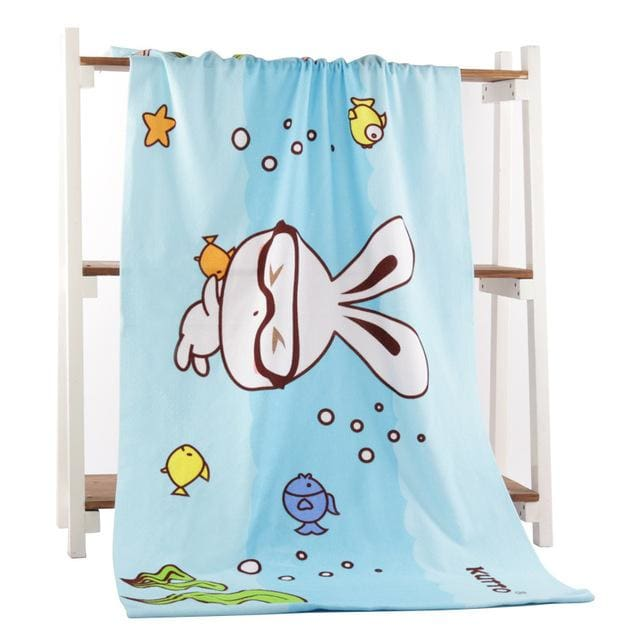 Beach Towel 2017 New Microfiber Bath Towels Adults70*140Cm Slipper Printed Beach Towel Girl Sea Rabbit / 70 By 140