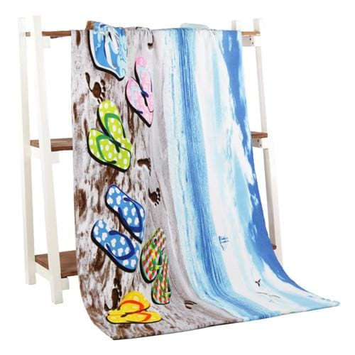 Beach Towel 2017 New Microfiber Bath Towels Adults70*140Cm Slipper Printed Beach Towel Girl Beach Slipper / 70 By 140