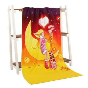Beach Towel 2017 New Microfiber Bath Towels Adults70*140Cm Slipper Printed Beach Towel Girl Moon / 70 By 140