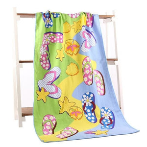 Beach Towel 2017 New Microfiber Bath Towels Adults70*140Cm Slipper Printed Beach Towel Girl Flower Slipper / 70 By 140
