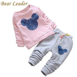 Bear Leader Baby Girl Clothes 2016 Autumn Baby Clothing Sets Cartoon Printing Sweatshirts+Casual - MBMCITY