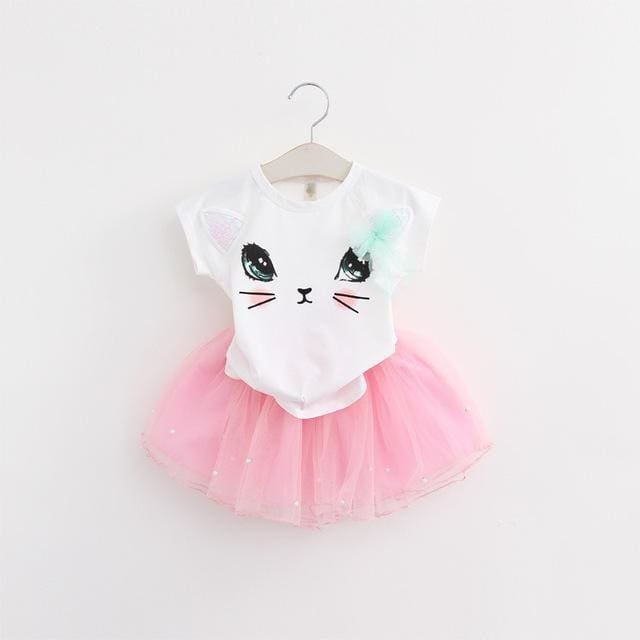 Bear Leader Girls Clothing Sets New Summer Fashion Style Cartoon Kitten Printed T-Shirts+Net Veil - MBMCITY