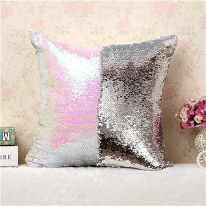 BeddingOutlet Mermaid Sequin Cushion Cover Magical Shining Pillow Case Patchwork Decorative.