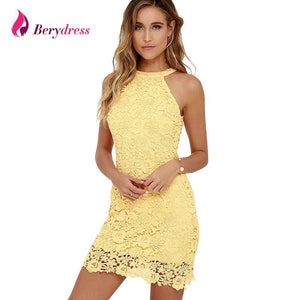 Berydress Womens Elegant Wedding Party Sexy Night Club Halter Neck Sleeveless Sheath Bodycon Lace - MBMCITY