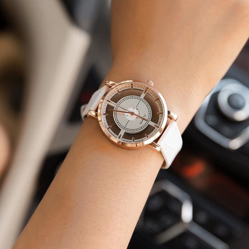 Bgg Brand Hollow Womens Luxury Creative Watch Womens Casual Watches Leather Ladies Dress Quartz