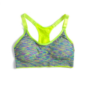 BH Sports Bra Women Fitness Yoga Padded Push Up Breathable Gym Bra Sujetador Brasieres Deportivos Yellow / L