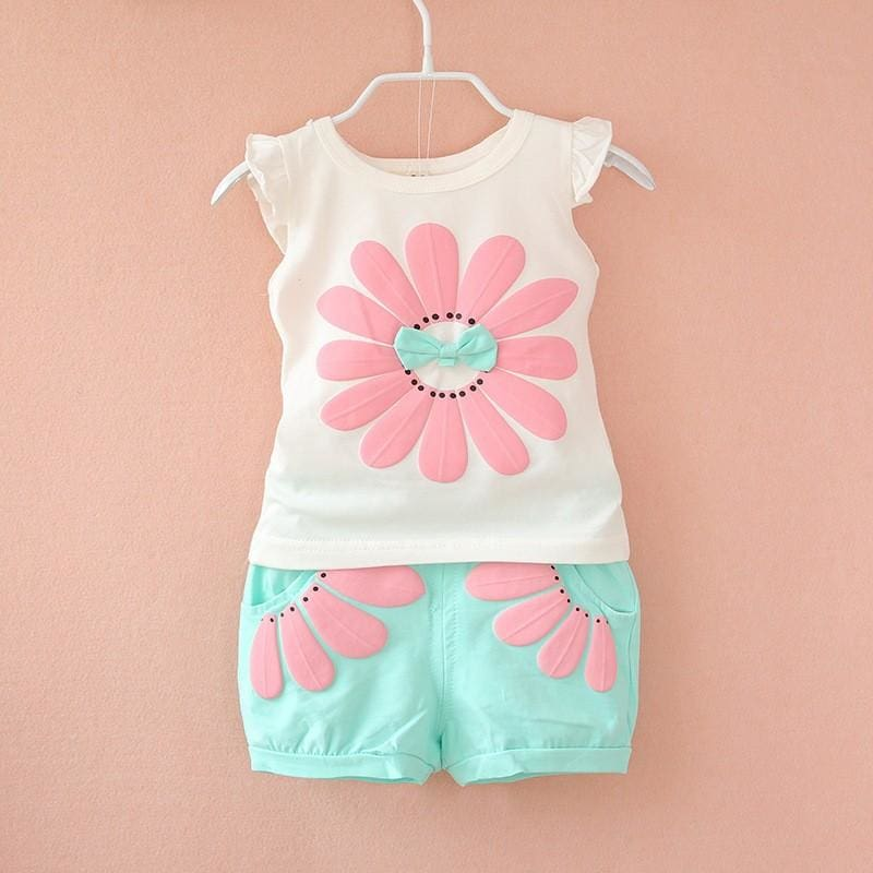 BibiCola 2017 toddler baby girls summer clothing sets flower 2pcs girls summer clothes set kids