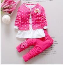 BibiCola Kids Spring  new Korean wave point clothing set baby girls cute cotton clothes suit