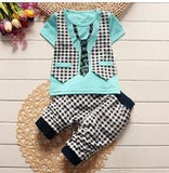 BibiCola summer baby boys clothing set toddler children sport suit set 2Pcs lattice gentleman.