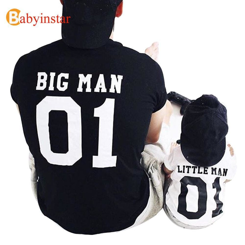 (Big Man & Little Man) Father Son Matching Tops Tees Family Matching Outfits Family Look Creative