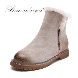 BIMUDUIYU Women Winter Boots New Arrival Genuine Leather Snow Boots Pig Suede Plush Cashmere Warm