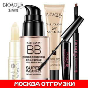 BIOAQUA Bright Cosmetics Makeup Set Lip Balm BB Cream Eyebrow Pencil Mascara Cream Makeup Base 5pcs